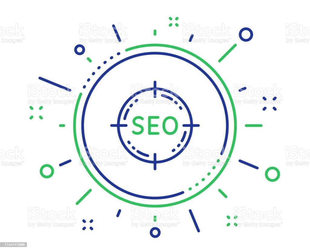 Seo Target Line Icon Search Engine Optimization Sign Vector