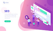 Seo concept. Can use for web banner, infographics, hero images. Flat isometric vector illustration isolated on white background.