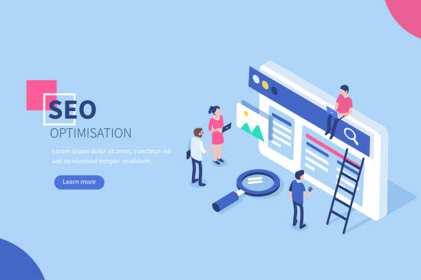 seo People team work together on seo. Can use for web banner, infographics, hero images.  Flat isometric vector illustration isolated on white background. seo stock illustrations