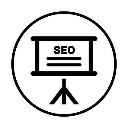 Seo, web training icon. Black version