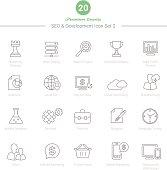 Set of Thin Line SEO and Development icons Set 3 Vector Illustration