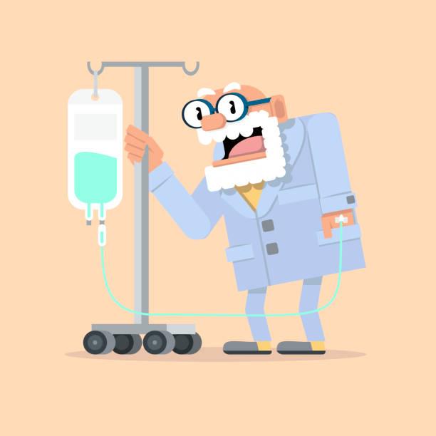 señor mayor con gotero intravenoso. - old man slippers stock illustrations, clip art, cartoons, & icons