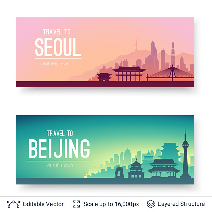 Seoul and Beijing famous city scapes.
