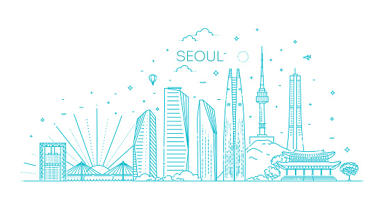 Seoul architecture line skyline illustration. Linear vector cityscape with famous landmarks