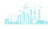 Outline Seoul Skyline with Modern Buildings. Vector Illustration.