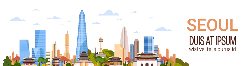 Seoul City Background Skyline South Korea View With Skyscrapers And Famous Landmarks Template Horizontal Banner