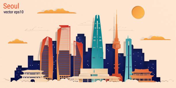 stockillustraties, clipart, cartoons en iconen met seoul stad kleurrijke papier knippen stijl, vector stock illustratie - zuid korea