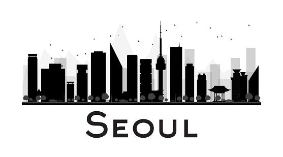 Seoul City skyline black and white silhouette