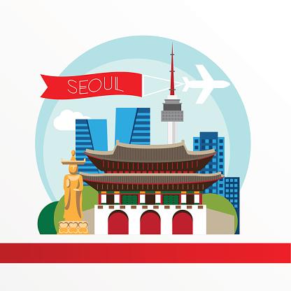 Seoul, detailed silhouette. Trendy vector illustration, flat style.