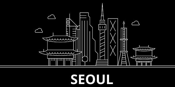 Seoul silhouette skyline. South Korea - Seoul vector city, korean linear architecture, buildings. Seoul travel illustration, outline landmarks. South Korea flat icon, korean line banner