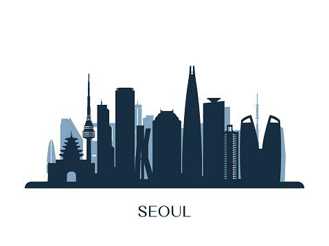 Seoul skyline, monochrome silhouette. Vector illustration.