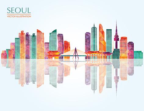 Seoul skyline. Vector illustration