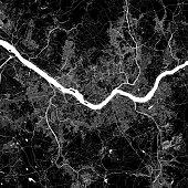 Topographic / Road map of Seoul, South Korea.