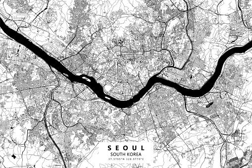 Seoul, South Korea Vector Map
