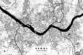 Poster Style Topographic / Road map of Seoul, South Korea.