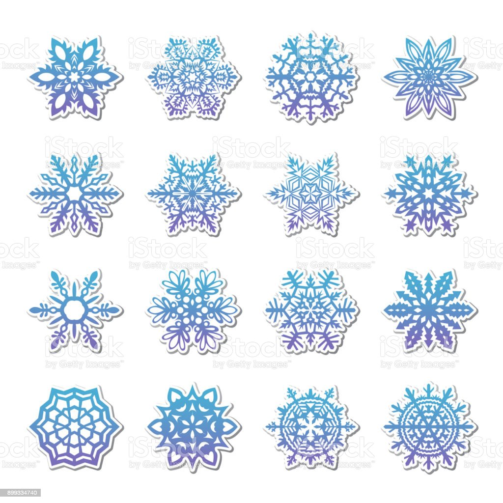 Separate Snowflakes Doodles Vector Rustic Christmas Clipart New Year Snow Crystal Illustration In Flat Style Eps10