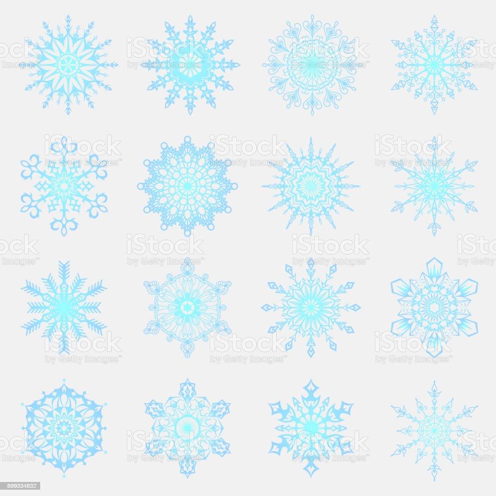 Separate Schneeflocken Doodles Vektor Rustikale Weihnachten Cliparts