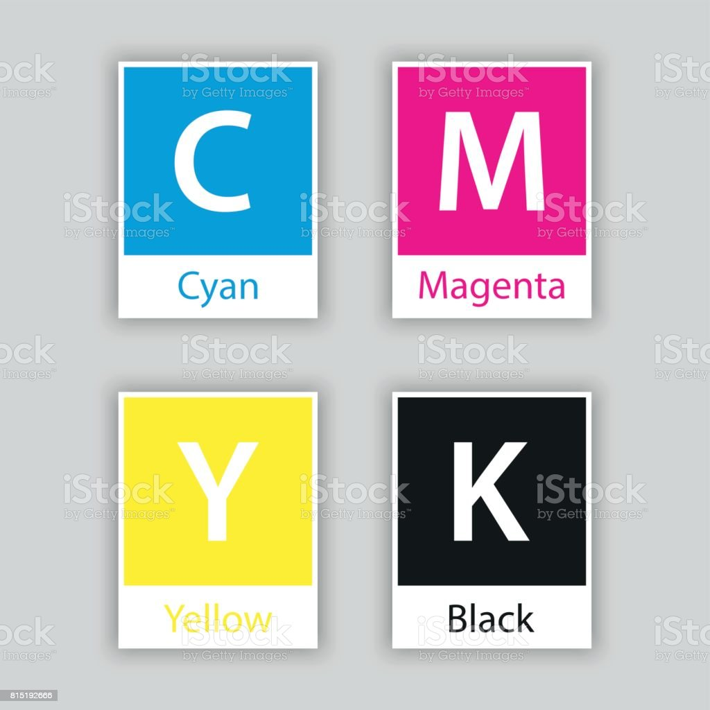 Separate Swatch In Cmyk Color With Color Name Isolated On White Background,  Cyan, Magenta