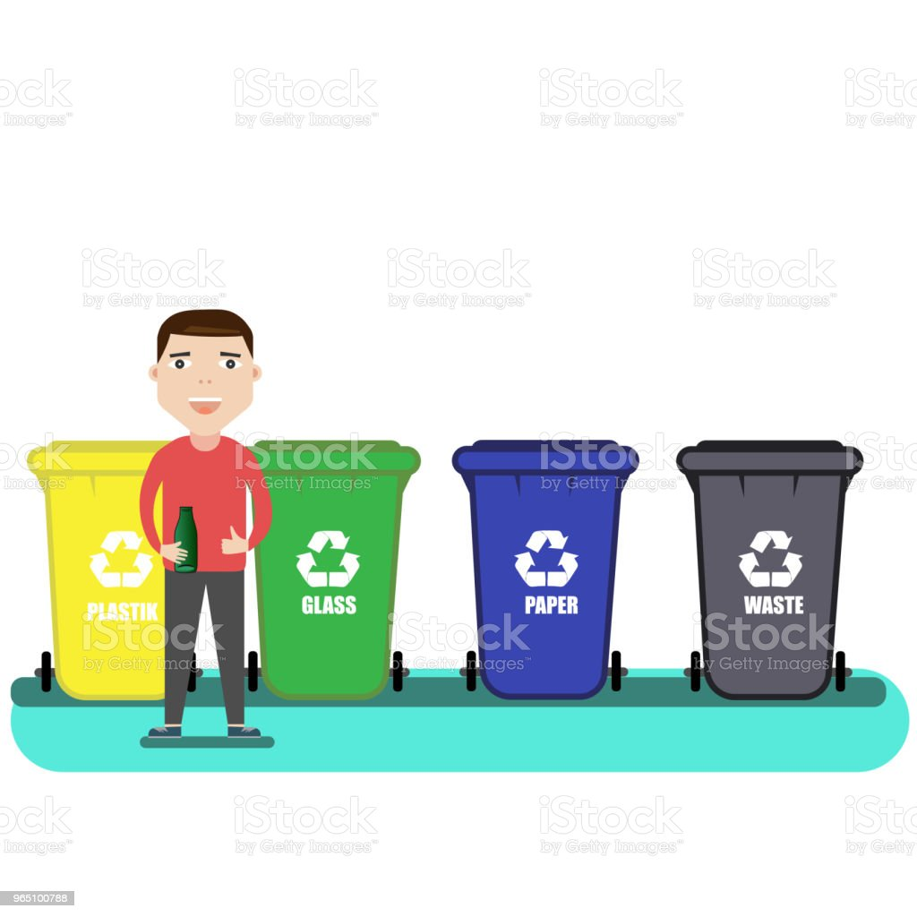 separate waste collection. man is standing near garbage cans with bottle in hand. Sorting of garbage in garbage containers. Recycling garbage paper, plastic, glass, waste royalty-free separate waste collection man is standing near garbage cans with bottle in hand sorting of garbage in garbage containers recycling garbage paper plastic glass waste stock vector art & more images of adult