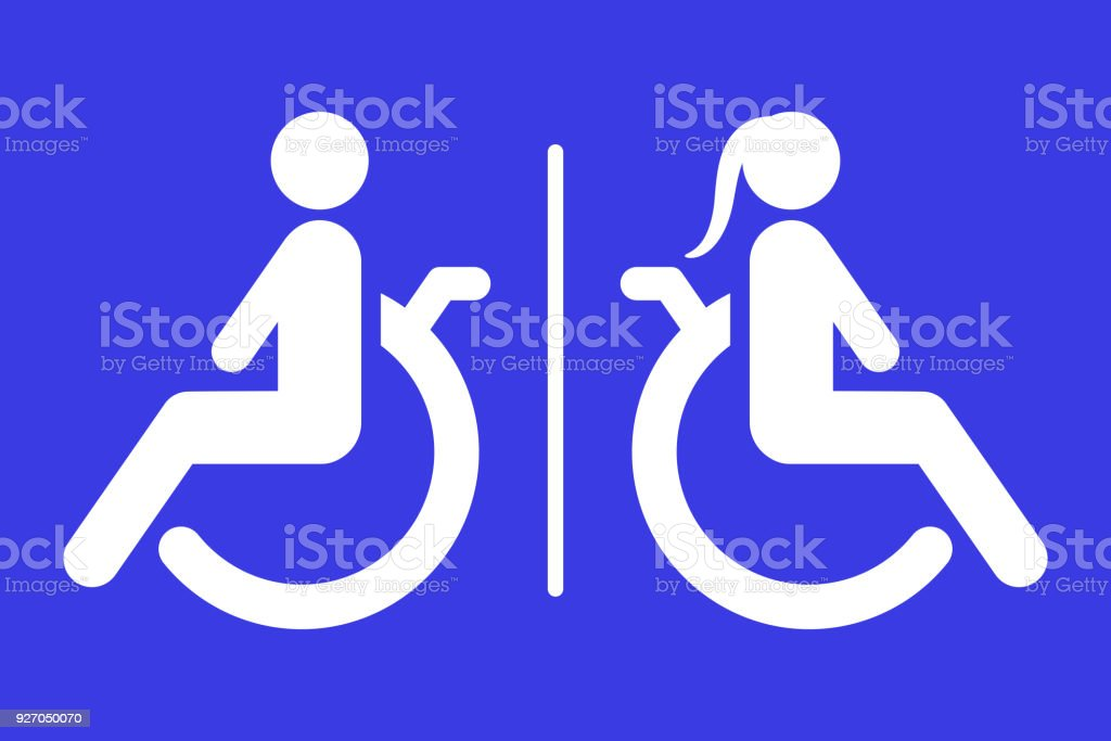 Separated toilet for disabled persons sign. Handicapped accessible male and female WC. Vector icon vector art illustration