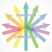 Colorful arrow to represent separation and convergence concept.