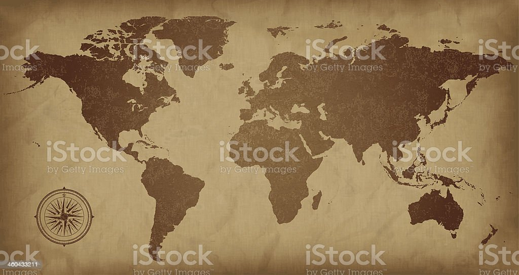 A sepia colored vintage world map, with a compass detail  vector art illustration