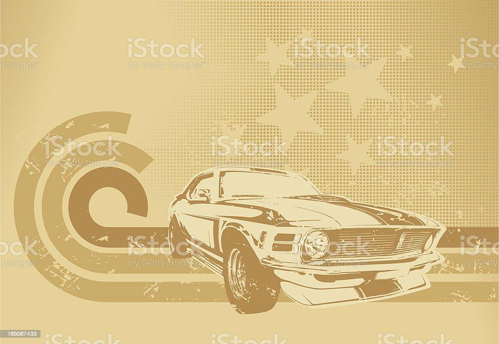 Sepia muscle car motif vector art illustration