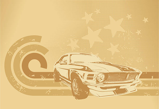sepia muscle car motif - 1970s style stock illustrations, clip art, cartoons, & icons