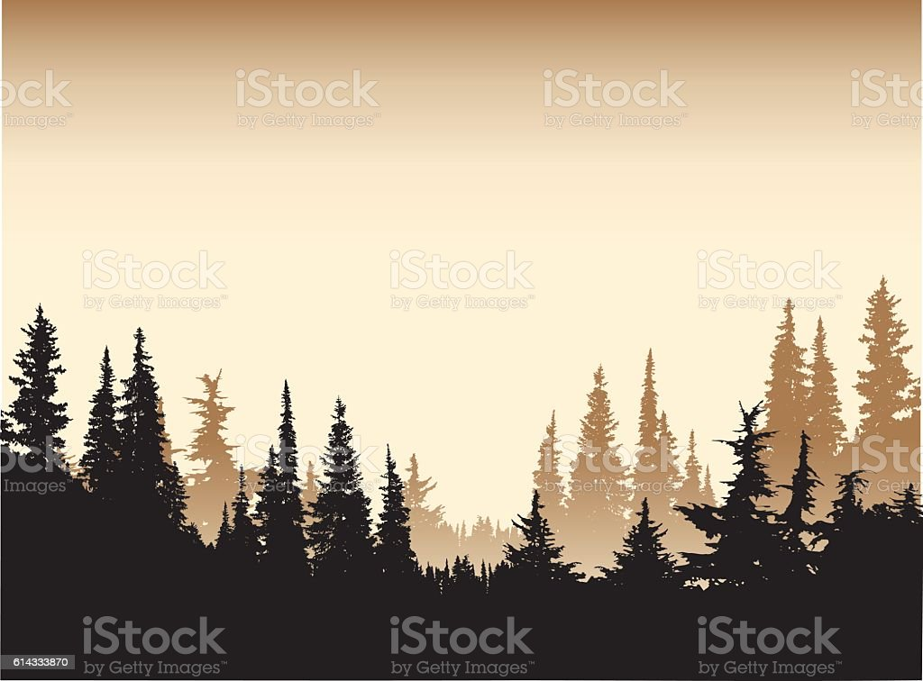 Sepia Tone Forest Background vector art illustration