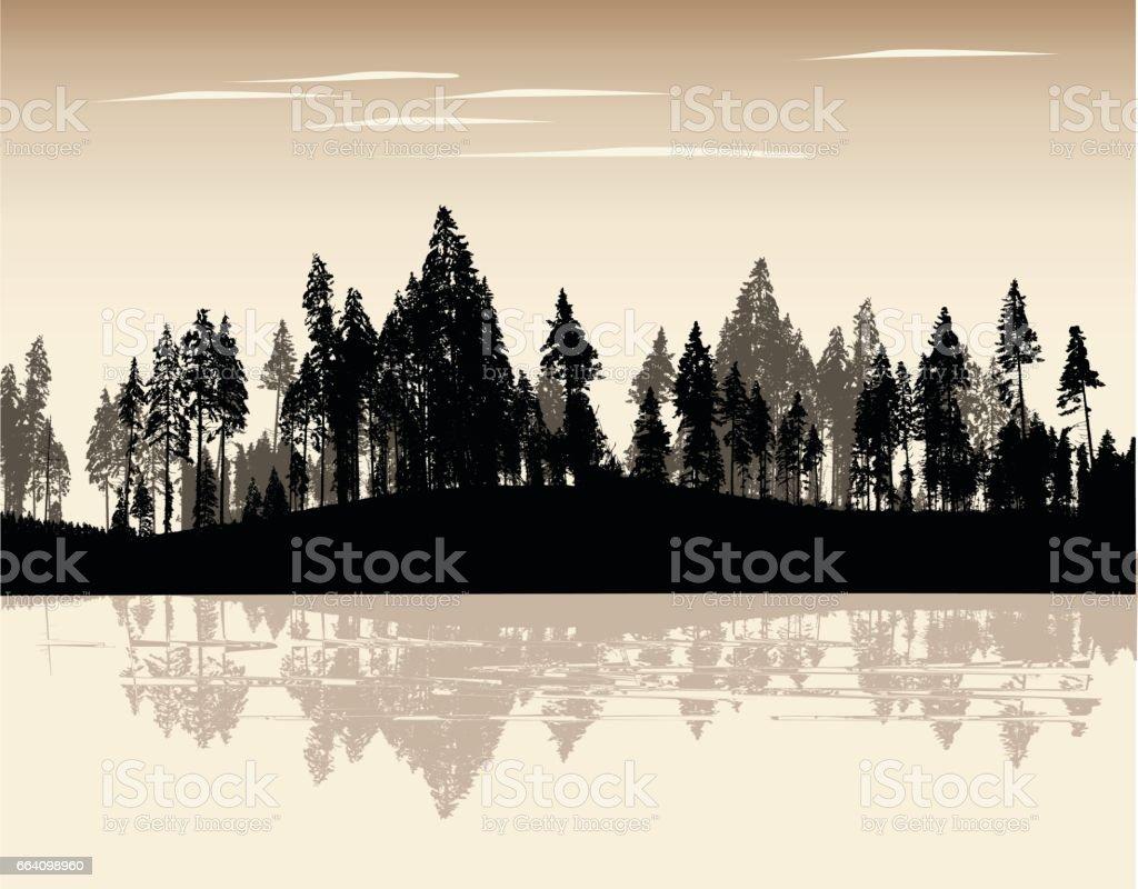 Sepia Treeline vector art illustration