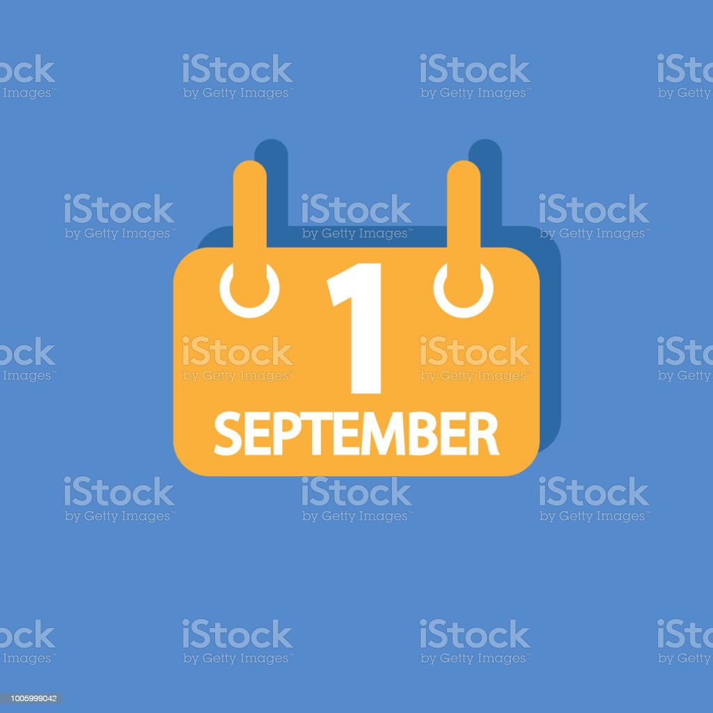 September 1 Vector Flat Daily Calendar Icon Date And Time Day Month