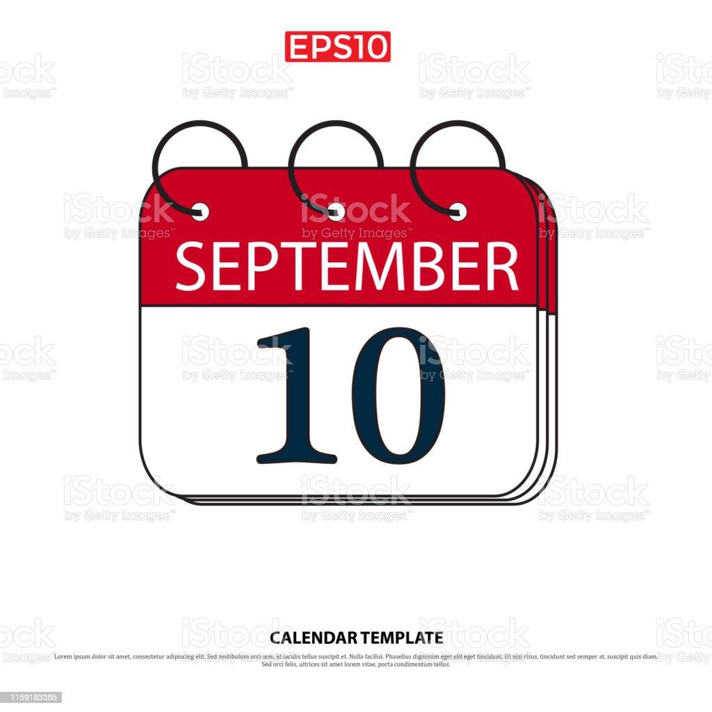 September 10calendar Iconvector Illustrationflat
