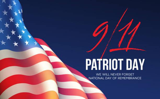 ilustraciones, imágenes clip art, dibujos animados e iconos de stock de fondo de 11 de septiembre de 2001 día del patriota. que nunca olvidaremos. fondo. ilustración de vector - memorial day