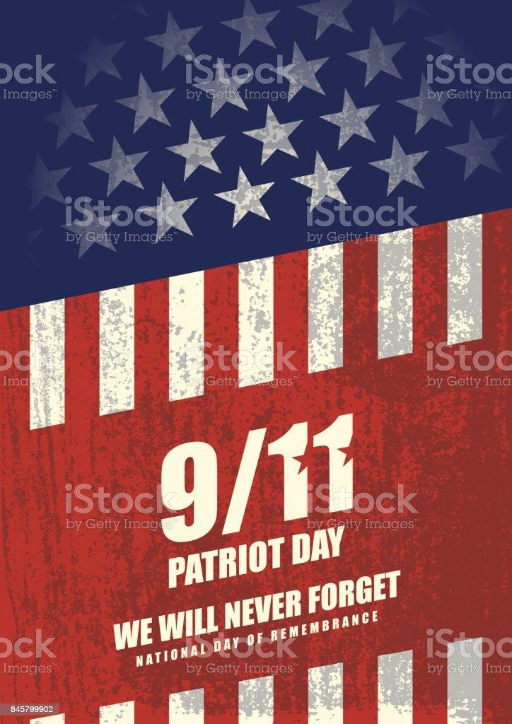 September 11 Patriot Day background vector art illustration