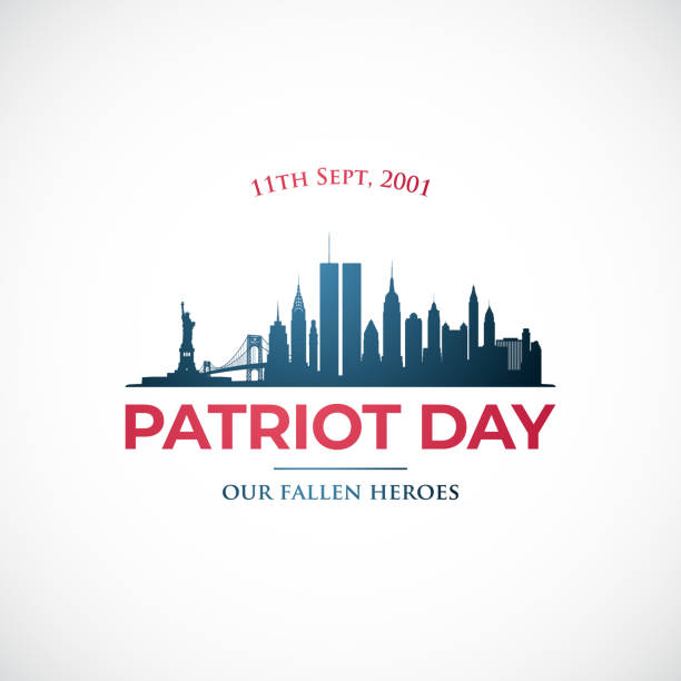 September 11, Patriot day in USA. Our fallen heroes. Vector banner New York skyline for remembrance day. September 11, Patriot day in USA. Our fallen heroes. Vector banner New York skyline for remembrance day. anniversary silhouettes stock illustrations