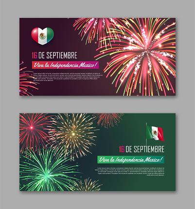 September 16 Viva La Independencia Mexico banners set