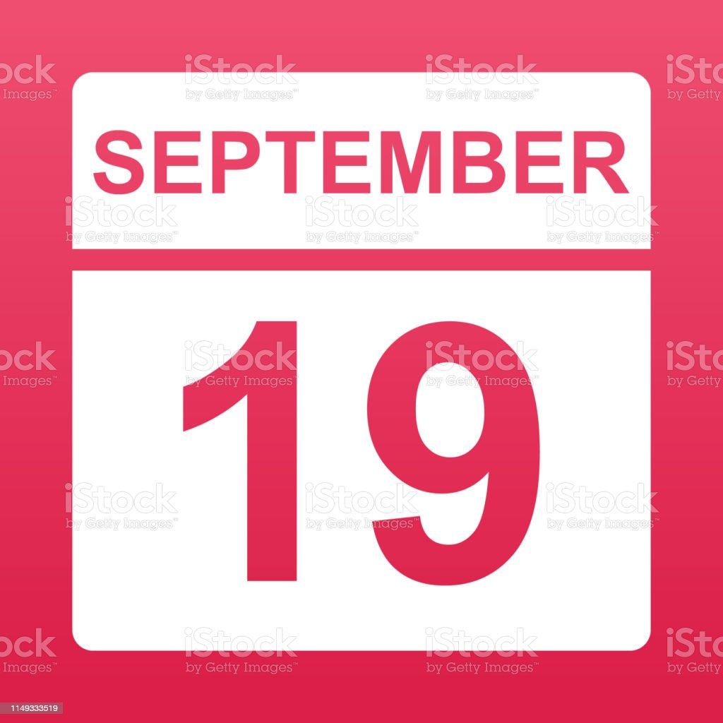 September 19. White calendar on a colored background. Day on the...