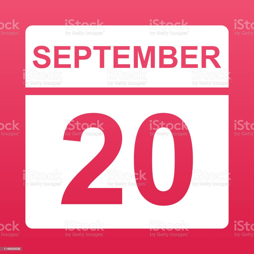 September 20. White calendar on a colored background. Day on the...