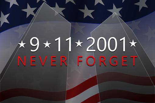 September, 11, 2001 - Patriot Day background. 9-11 Never Forget banner. Vector.
