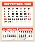 September 2013 Calendar Set