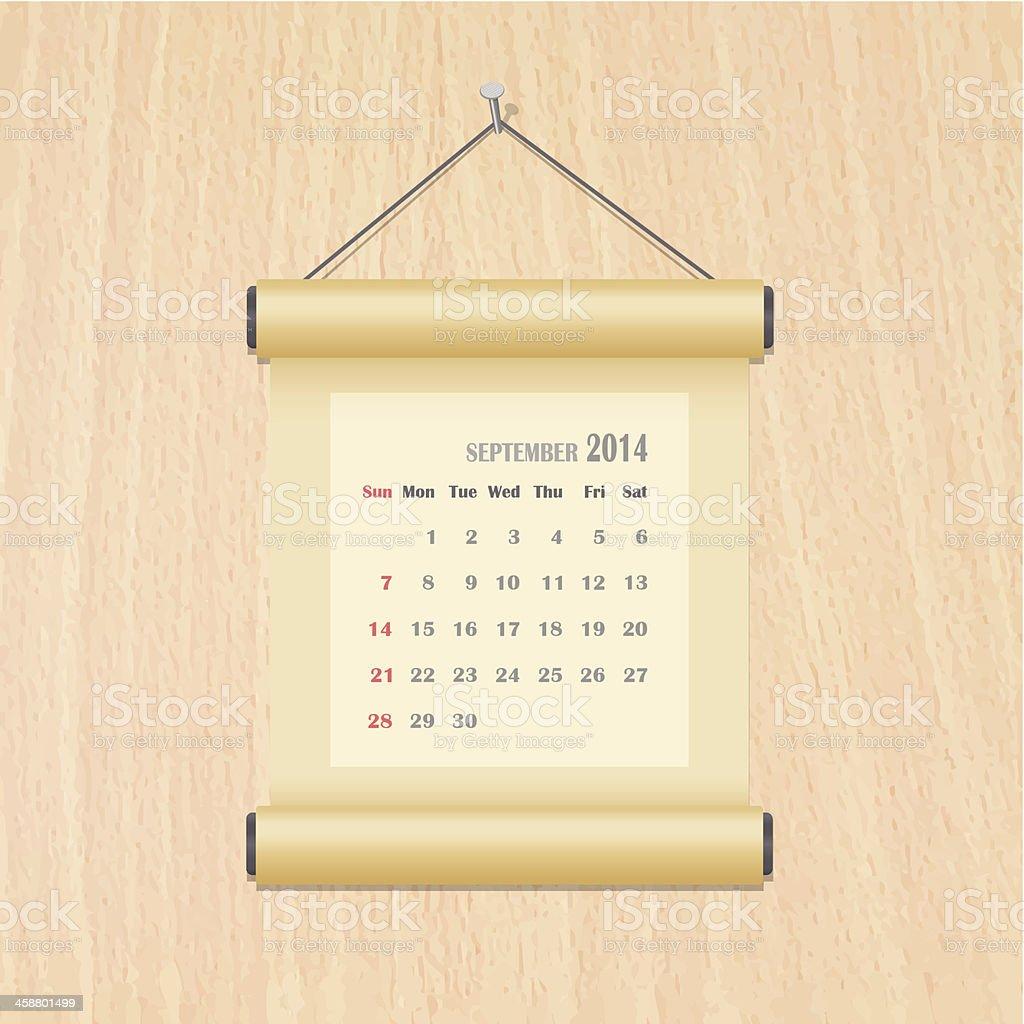 Calendario De Septiembre De 2014 En Madera De La Pared Illustracion ...