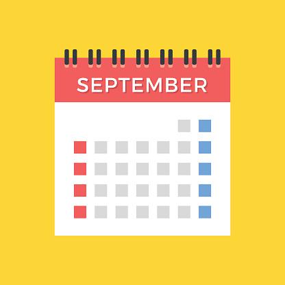 September 2017 calendar. American, US version. Calendar icon. Vector icon