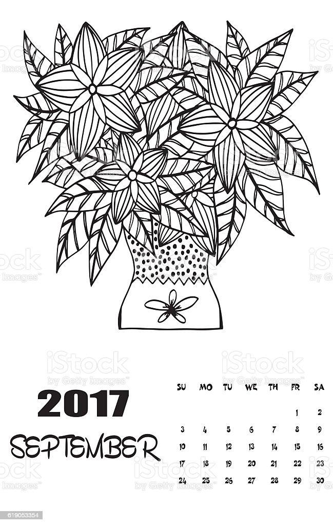 September 2017 Calendar Line Art Black And White Illustration Stok