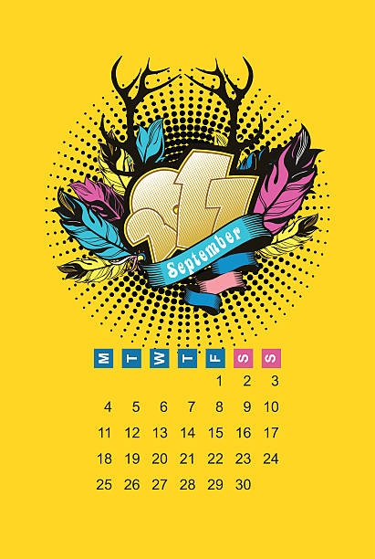 illustrations, cliparts, dessins animés et icônes de septembre 2017 calendrier - infographie processus