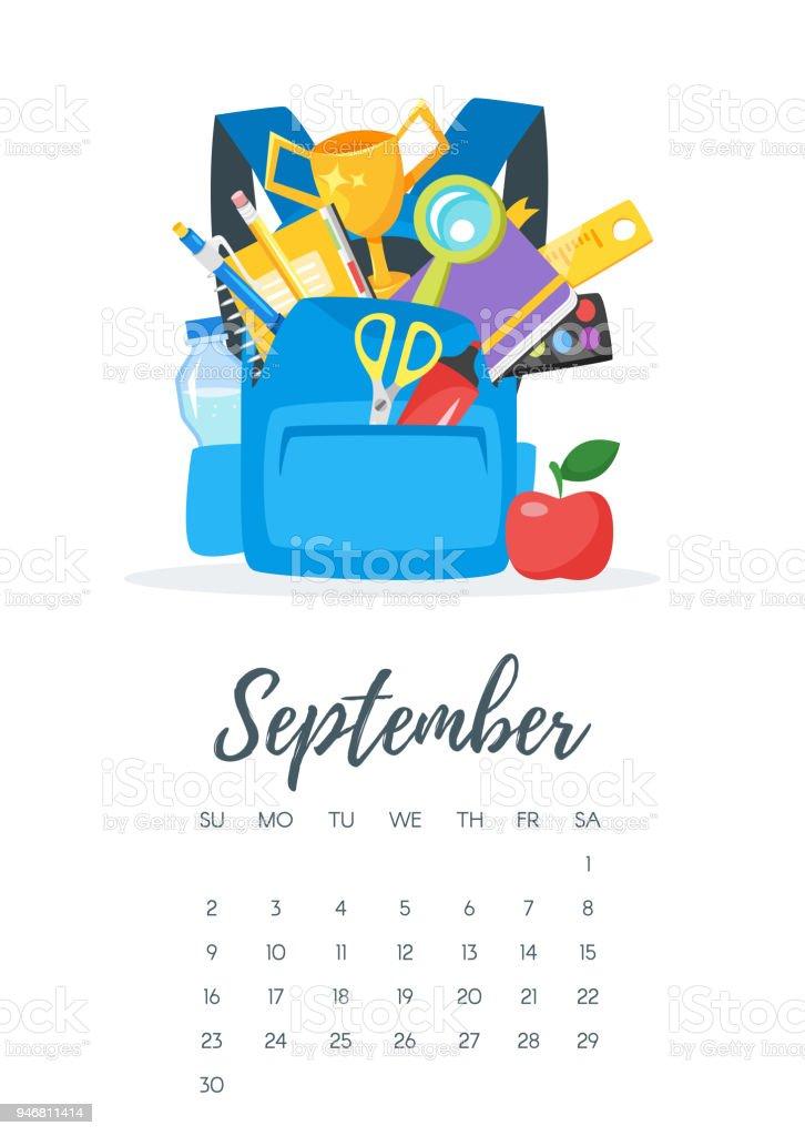 Página de calendário ano setembro de 2018 - ilustração de arte em vetor