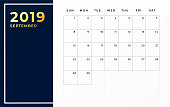 September 2019 schedule template. Week starts on sunday empty calendar month