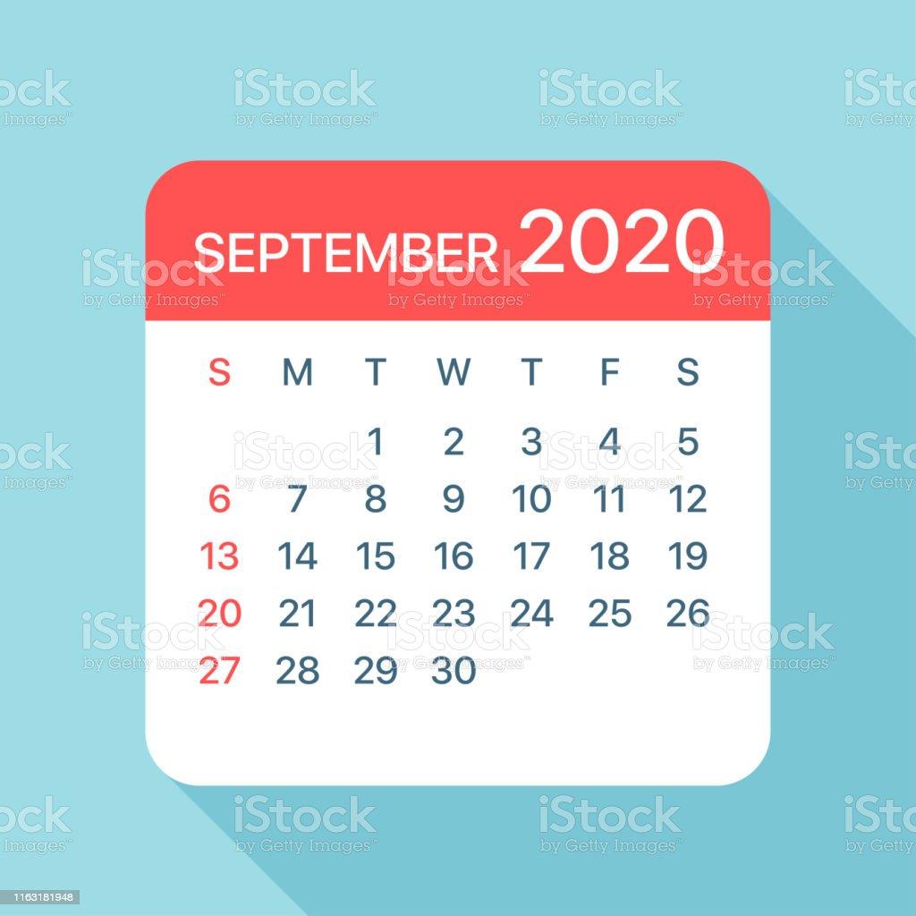 Calendrier De Septembre 2020.Septembre 2020 Feuille De Calendrier Illustration Vector