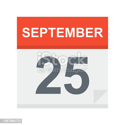 September 25 - Calendar Icon - Vector Illustration