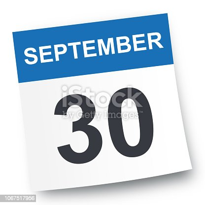 September 30 - Calendar Icon - Vector Illustration