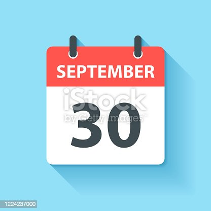 istock September 30 - Daily Calendar Icon in flat design style 1224237000
